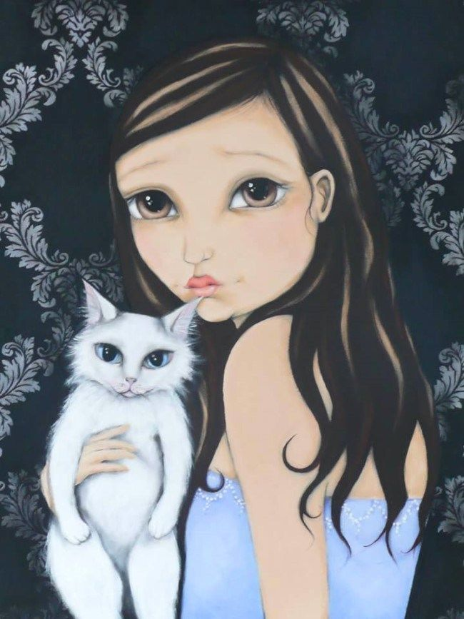'Miss Bliss' Painting by NZ Artist Narina Bailey featuring a fluffy white cat and girl in blue dress. (Pet Blog: www.petblog.co.nz) #FluffyCat #CuteWhiteCat #CatPainting #SoSweet
