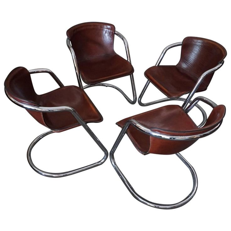 Set Of Four Cognac Leather Dining Chairs Willy Rizzo 1970s Modern Room