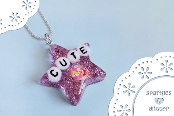 Lollipop Star Necklace  Made with Resin and Glitter