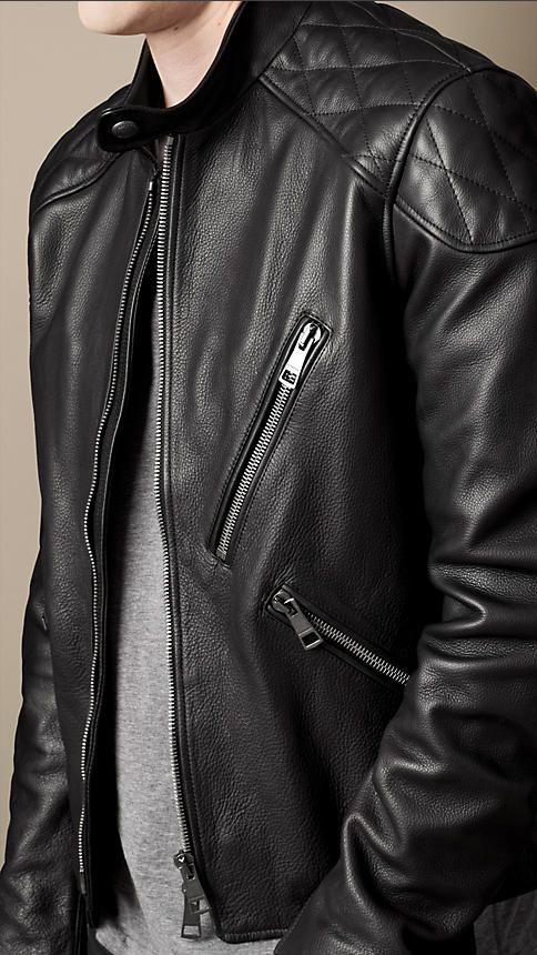 Burberry Brit Quilt Detail Leather Biker Jacket