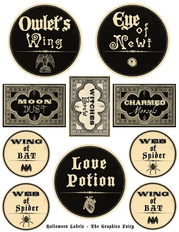 printable halloween labels potions