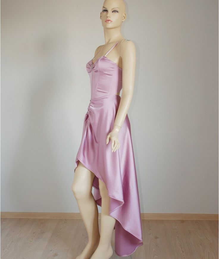 Pink dress, asymmetric pink dress, sweatheart neck pink dress, pink long asymmetric dress, zippered asymmetric dress, corset pink dress by BTBfashionDesigns on Etsy