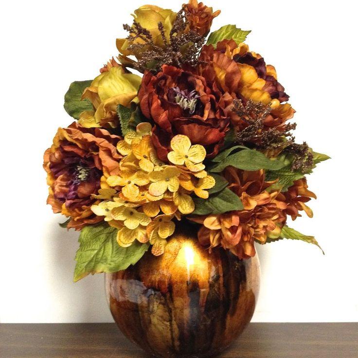 Tuscan Silk Floral Arrangement Bronze Amp Gold In Mercury Glass Globe Vase 17 Quot