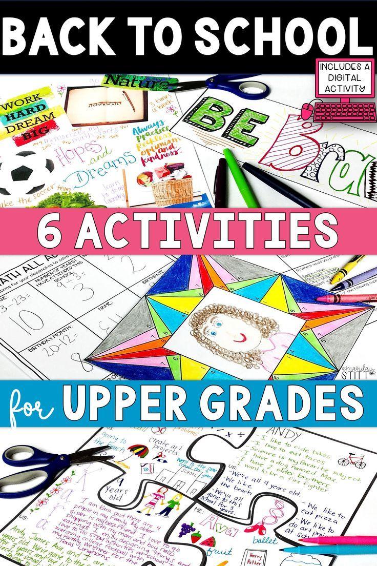 Creative back to school activities for upper elementary students! Fun ideas  for kids in…   Back to school activities [ 1104 x 736 Pixel ]