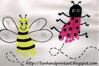 Footprint Bee & Footprint Ladybug Craft, Kids Bumblebee Craft for Spring. A little too young for my group but still adorable!
