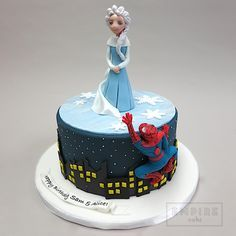 spiderman and frozen cake - Google Search