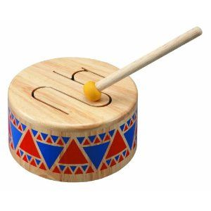 Plan Toy Solid Wood Drum, $20. Find this and more Gift Guides at SmallforBig.com #kids #toys #christmas