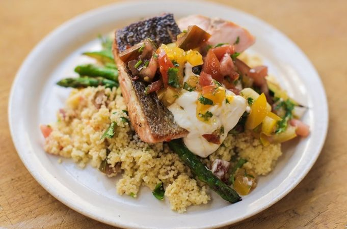 Quick salmon dish. Swap couscous out w broccoli/cauliflower