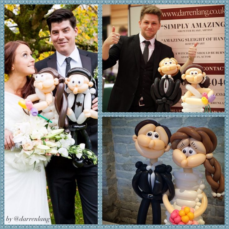 Fully customisable, bespoke Wedding Couple Balloons make brilliant photo opportunities! These also make unusual and fun gifts for flower girls and page boys!- mini versions of themselves! Can be completely personalised for the Bride, Groom, Best Man, Bridesmaid, Maid of Honour, Mother / Father of the Bride / Groom, Flower Girl, Groomsmen, Page Boy, Ushers and anyone else! Made By Darren Lang  @ darrenlang www.darrenlang.co.uk