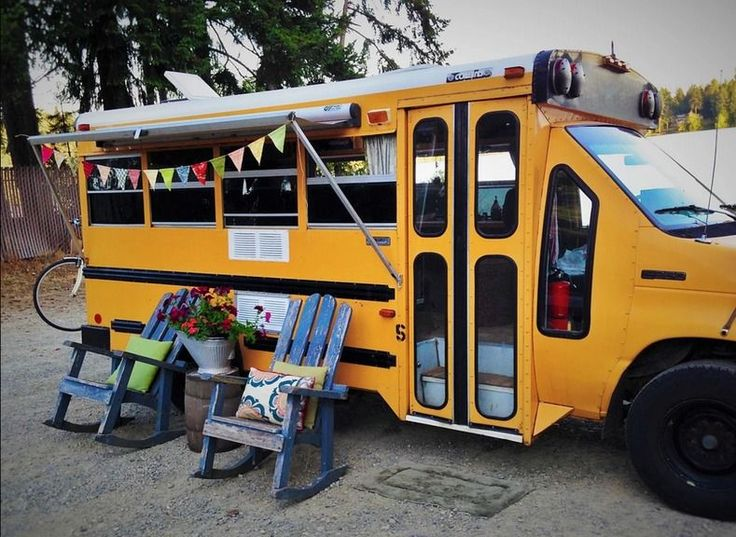 "This is the Minette Short Bus Conversion by Von Thompson Creative. The DIY school bus RV is cozy and adorable! I see lots of ""normal"" bus conversions, but I love seeing what can be done…"