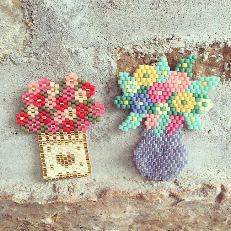 Dijes Floreros Chaquira Brick Stitch