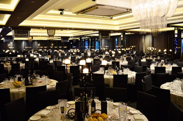 Setting for a corporate dinner.