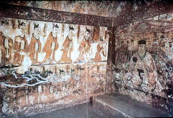 Goguryeo Tomb Mural - The Governor Receiving Honors. West wall of south chamber - Deokheung-ri, 408 A.D. Taean City, North Korea.