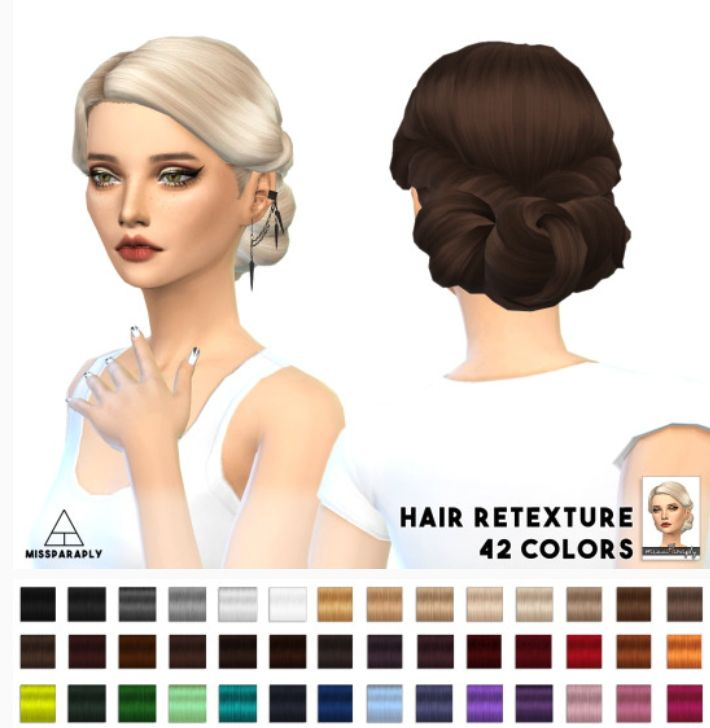 Miss Paraply: Twist Low hairstyle retextured - Sims 4 Hairs - http://sims4hairs.com/miss-paraply-twist-low-hairstyle-retextured/