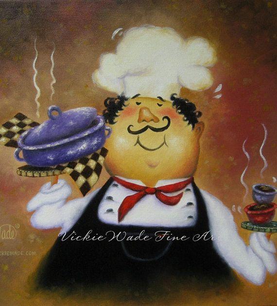 Purple Pot Chef Original Oil Painting, fat chefs, kitchen art, red, black, checks, happy chef, Vickie Wade Art