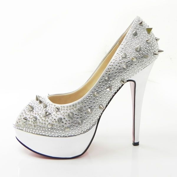 Christian Louboutin Very Mix 140mm Peep Toe Strass Platform Pumps In Silver  $118.99