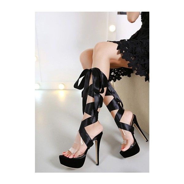 Women's Style Sandal Shoes Winter Fashion Satin Lace Up Strappy Super Stiletto Heels Platform Sandals Strappy Shoes For Party New Year Bucket List 2018 Sexy Stripper High Heels, Night Club, Dancing Club | FSJ