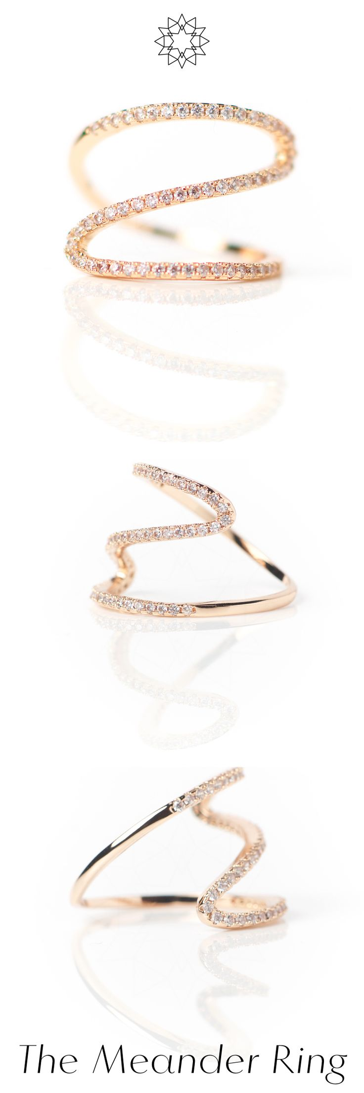 The Meander Ring is double-plated with 18k rose gold and sprinkled with a string of zirconia crystals. This simple minimalist ring design is reminiscent of a fluid asymmetric form and is inspired by the delicate beauty of water in nature.  Read the story of the Meander ring at https://houseoftreasure.eu/products/meander