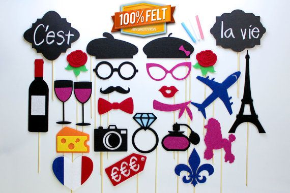 Felt Photo Booth Props  25 Piece French Photo by PhotoBoothProp, $49.00