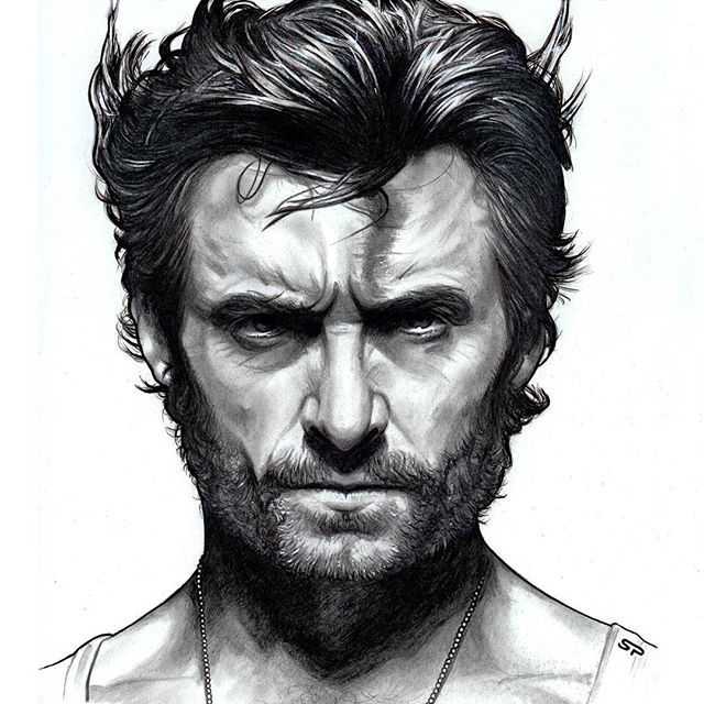 "Hugh Jackman as ""Wolverine"" Hand drawn pencil / ink sketch (detail ..."