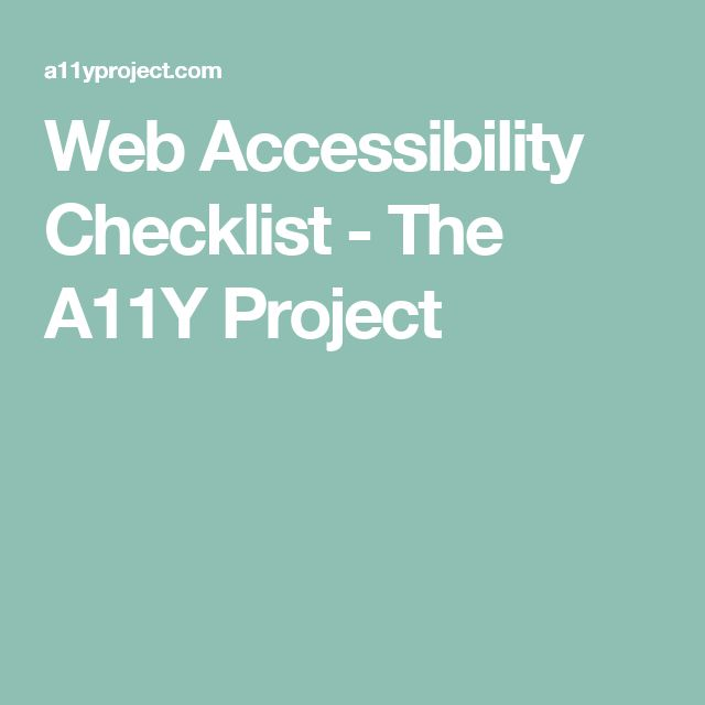 Web Accessibility Checklist - The A11Y Project