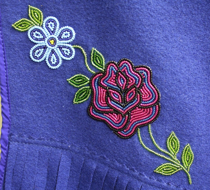 Floral bead design on a fabric vest by a Tlicho Citizen, Behchoko, Northwest Territories, Canada.