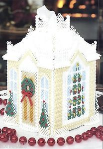 free plastic canvas box patterns | ... CHRISTMAS HOUSE TISSUE BOX COVER-PATTERN* *PLASTIC CANVAS PATTERN