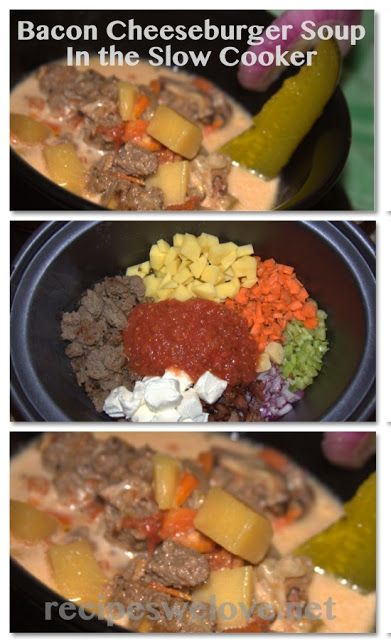 Recipes We Love: Bacon Cheeseburger Soup Slow Cooker Style. Omit potato, sub whipping cream, soy milk or almond milk for the cow's milk to make low carb.