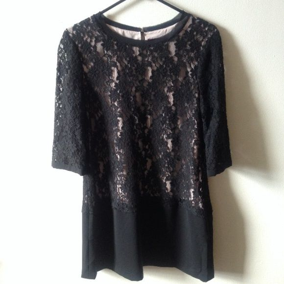 Ted Baker Black Dress SALE Gorgeous! Black and nude lace dress. Size 8/10. Sleeves are completely see thru lace and the body of dress has a nude sheer under finish. Ted Baker Dresses