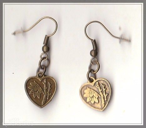Chinese Bamboo Heart Charm Bronze Drop Earrings  by MadAboutIncense - $8.50