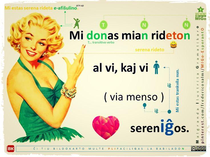 afiŝulino (pin up) #migo #esperanto #akuzativo #gramatiko #verbo #doni #iĝ #menso #ridi mi kaj vi #virino