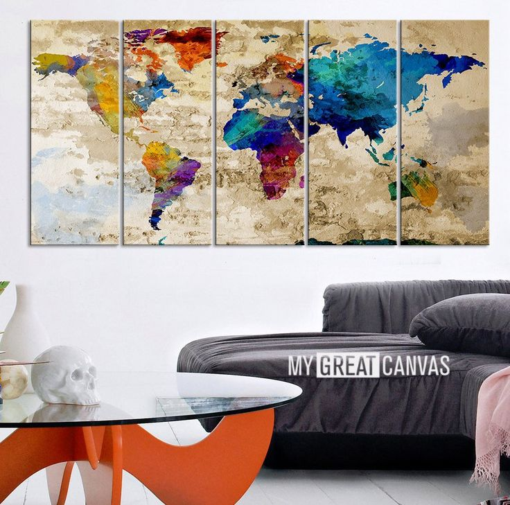 26 best watercolor world map canvas images on pinterest world map retro world map canvas print art drawing on old wall watercolor worl extra large gumiabroncs Choice Image