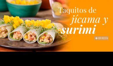 Taquitos de jícama y surimi