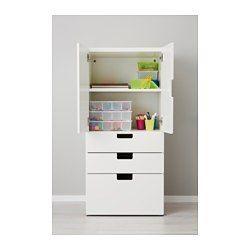 IKEA - STUVA, Combi rgt portes/tiroirs, blanc, , Rangement bas qui permet aux enfants d'atteindre plus facilement leurs affaires et de les ranger.Pieds réglables pour une grande stabilité même sur un sol inégal.Portes avec amortisseur pour fermeture silencieuse et en douceur.