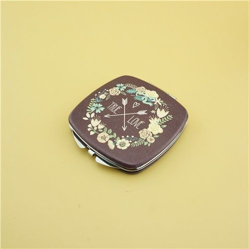 Leather compact mirror/PU fashion pocket mirror This customized design compact mirror is a perfect gift for lady. It is covered with PU leather and decorated with a metal silver cross.