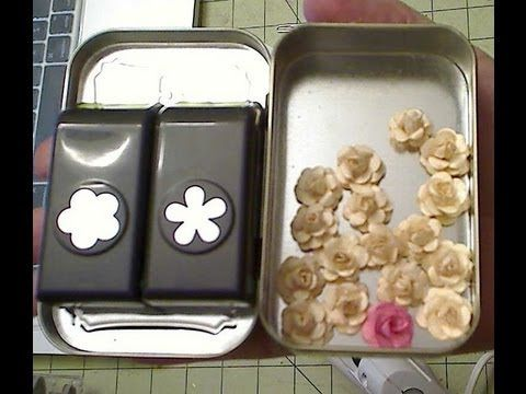 pettite roses using EK sucess mini 5 petal flower punch - YouTube