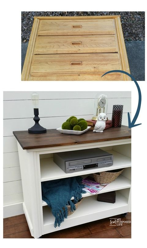 My Repurposed Life-Repurposed Dresser TV Stand  I love the color combination on this tv stand