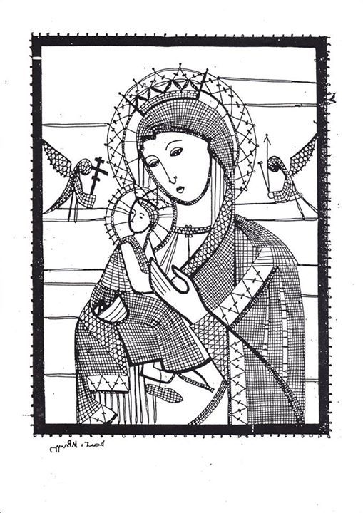 Bobbin lace madonna and child
