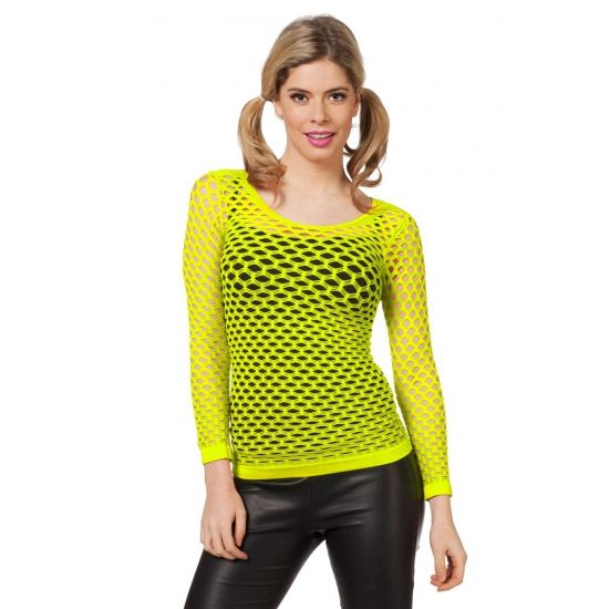 Fel geel netshirt lange mouw. Neon geel t-shirt met lange mouwen in het retro gaatjes model. Carnavalskleding 2015 #carnaval