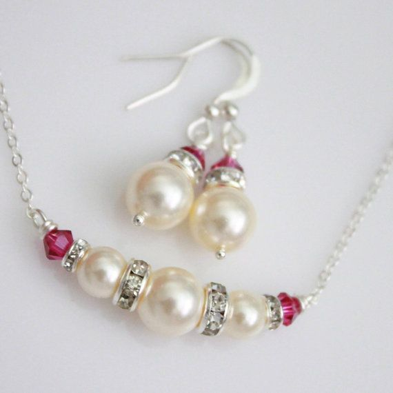 Swarovski Ivory Pearl and Fuschia Necklace by alexandreasjewels, $18.00