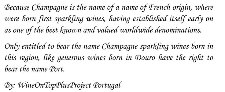 Why we can not call a sparkling wine of champagne ?
