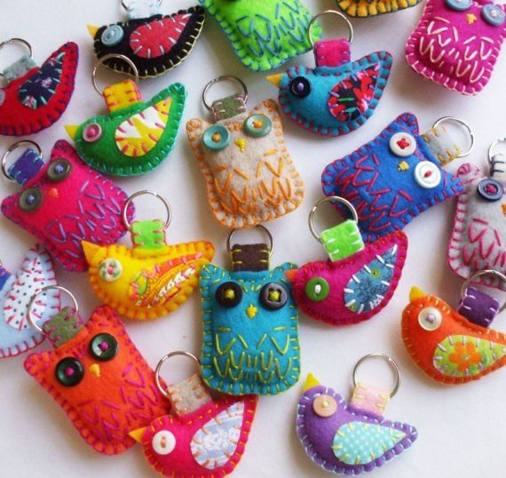 Felt & Embroidery Owl & Bird Plush Keychains by lovahandmade on Etsy