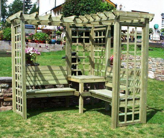 Avon Corner Timber Pergola with Benches and Trellis