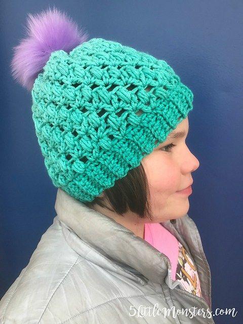 Puff Stitch Hat Free Crochet Pattern   Häkelwwelt   Pinterest ...