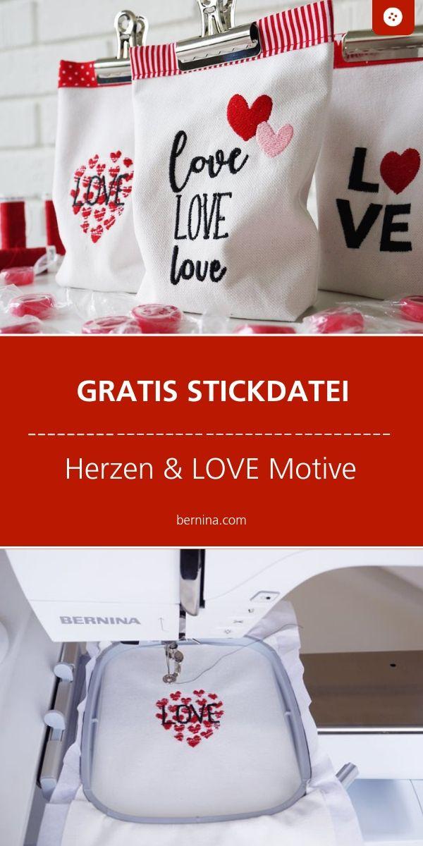Gratis Stickdatei Herzen und Love Schriftzug