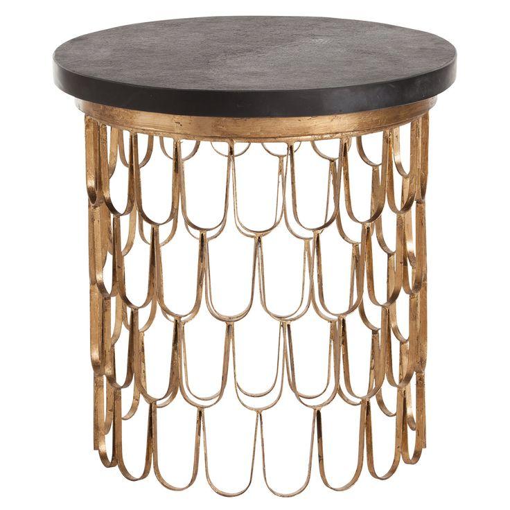 Arteriors Orleans Gold Leaf Iron/Marble End Table @Zinc_Door #zincdoor #table #sidetable