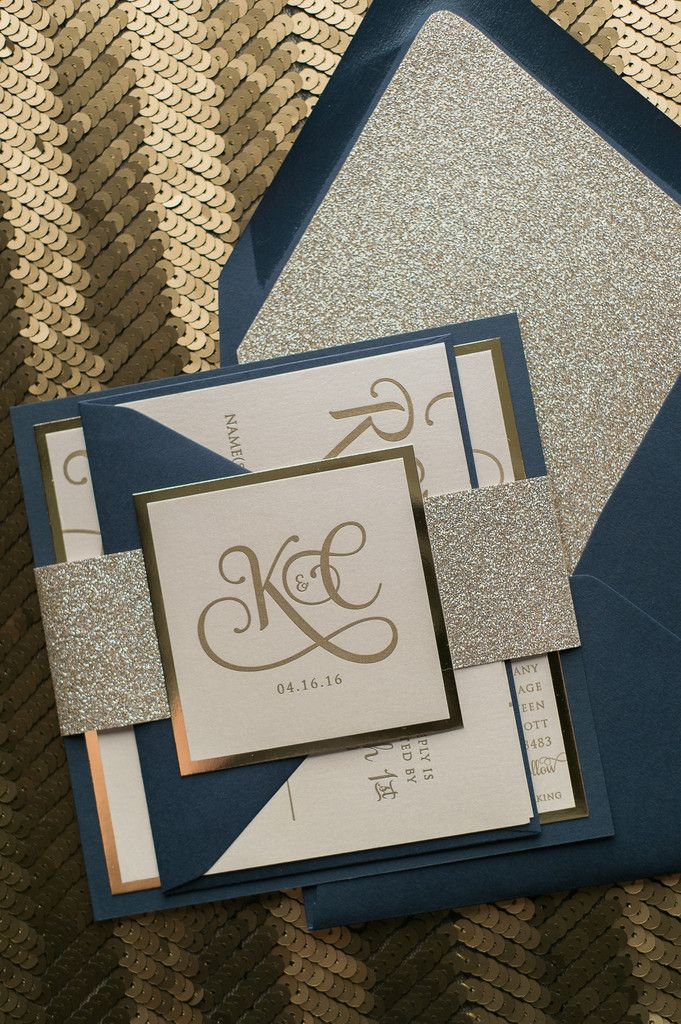 ADELE Suite Fancy Glitter Package, elegant navy and champagne letterpress wedding invitations, fancy wedding invitations with glitter envelope liners, navy and gold glitter, modern square wedding invitations