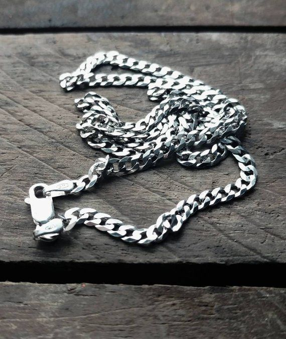 3mm Solid 925 Sterling Silver Cuban Curb Link Italy Italian Men/'s Chain Necklace