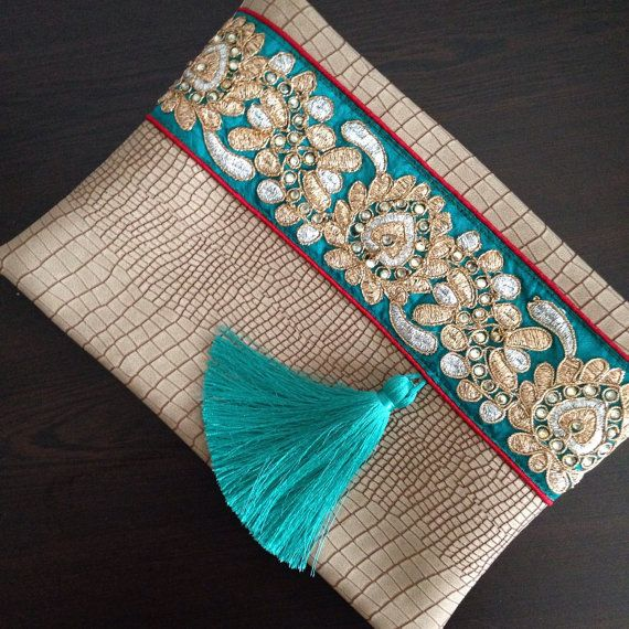 Faux Leather Clutch, Ethnic Clutch, Bohemian Bag, Boho handbag, Women's handbag…
