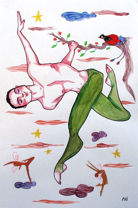 Ilustración personlizada para Angel Acróbata de circo. Técnica mixta. Tamaño A2. mailustrando.blogspot.com.es